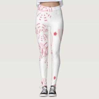 Leggings Pantalon tourbillonnant de rose et blanc de