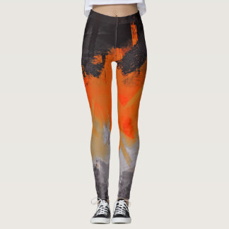 Leggings Peinture noire orange d'abrégé sur gris
