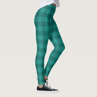 Leggings plaid checkered turquoise de turquoise