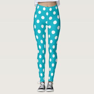 Leggings Point de polka bleu et blanc turquoise