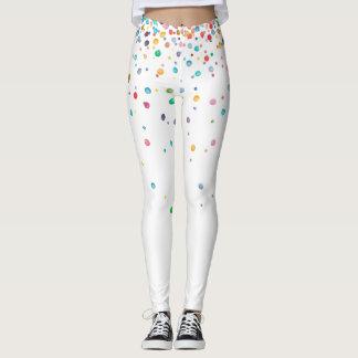 Leggings Points de confettis d'aquarelle d'arc-en-ciel