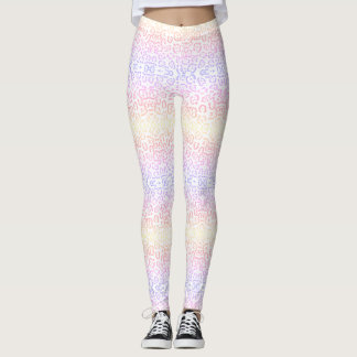 Leggings Poster de animal en pastel d'arc-en-ciel de