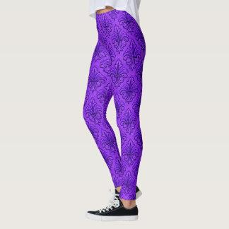Leggings Purple Fleur De Lis à la mode
