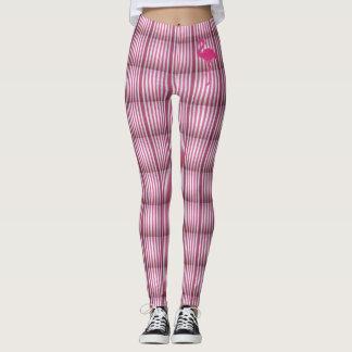 Leggings rayures avec flamant rose