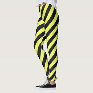 Leggings Rayures diagonales noires et jaunes