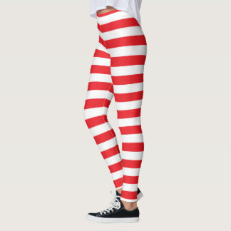 Leggings Rayures rouges et blanches