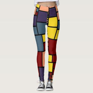 Leggings Rétro motif #7 de carrés de couleur