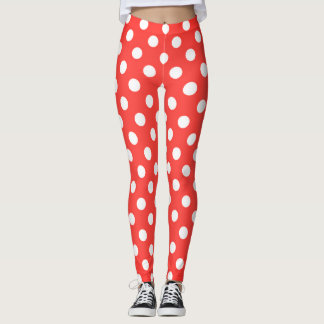 Leggings Rétros guêtres rouges de point de polka