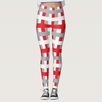 Leggings Rouge abstrait, argent et blanc