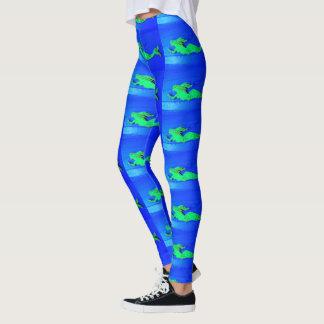 Leggings sirènes vertes de natation bleues