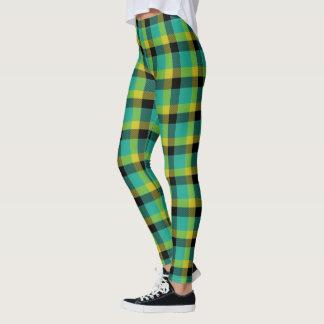 Leggings Tartan jaune et noir de turquoise écossaise de