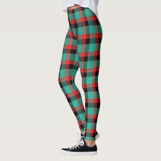 Leggings Tartan rouge et noir de turquoise écossaise de