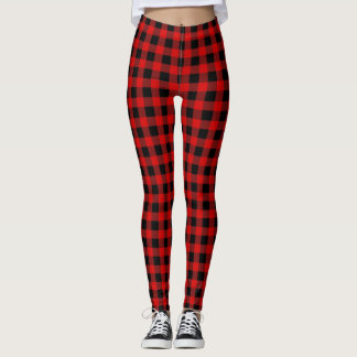 Leggings Tartan rouge lumineux de plaid de Buffalo noir de