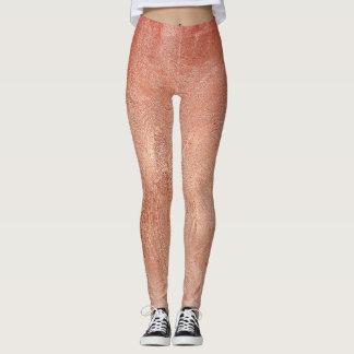 Leggings Texture rose d'en cuivre d'or métallique
