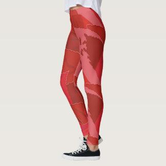 Leggings Usage actif de femmes rouges colorées de fleur