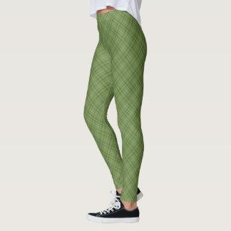 Leggings Vert sur la petite diagonale verte de plaid de