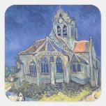 L'église à l'Auvers-sur-Oise Sticker Carré