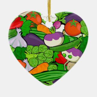 Légumes colorés de bande dessinée ornement cœur en céramique