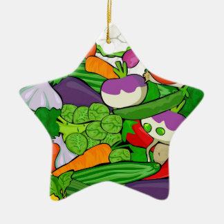 Légumes colorés de bande dessinée ornement étoile en céramique