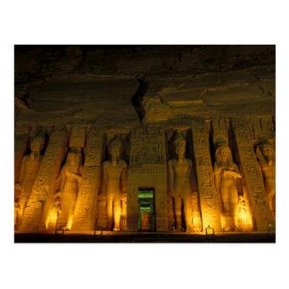 L'Egypte, Abu Simbel, façade allumée de petit Carte Postale