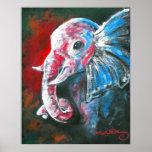L'éléphant élégant intelligent affiches
