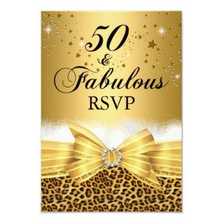 L'empreinte de léopard et cintrent 50 et or carton d'invitation 8,89 cm x 12,70 cm