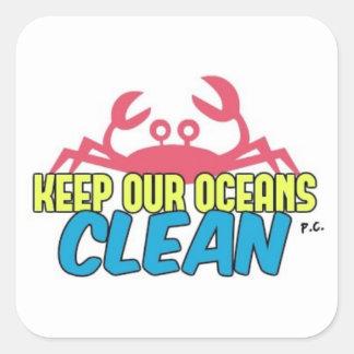 L'environnement gardent notre slogan propre sticker carré