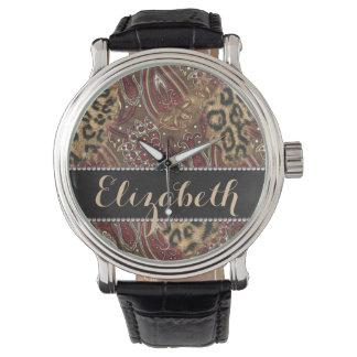 Léopard et copie de motif de Paisley à Montres Bracelet