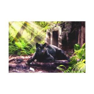 Léopard et temple de noir d'impression de toile