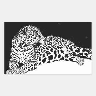 Léopard noir et blanc sticker rectangulaire