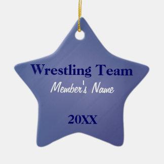 L'équipe de sports bleue et blanche ornemente ou ornement étoile en céramique