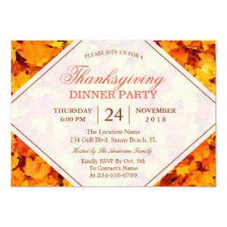 L'érable d'automne part du dîner de thanksgiving carton d'invitation  12,7 cm x 17,78 cm