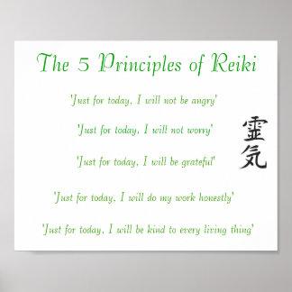 Les 5 principes de l'affiche de Reiki