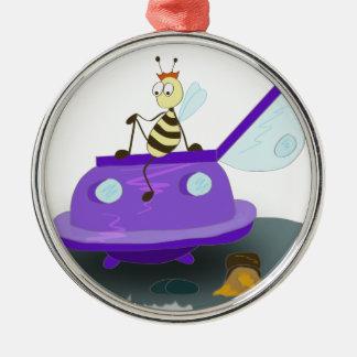 les abeilles débarquent ornement rond argenté