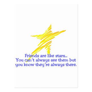 Les amis sont comme des étoiles carte postale