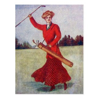 Les années 10 vintages de mode du golf des femmes carte postale