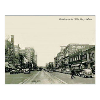 Les années 1930 Gary, Indiana de Broadway Carte Postale