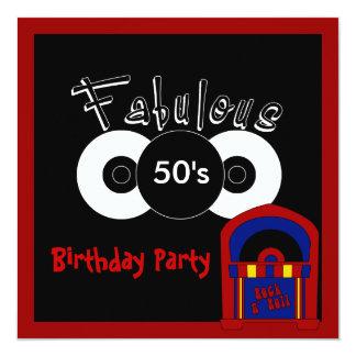 Les années 50 fabuleux de fête d'anniversaire carton d'invitation  13,33 cm