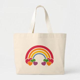 Grand Tote Bag les années 80 arc-en-ciel et sac de coeurs
