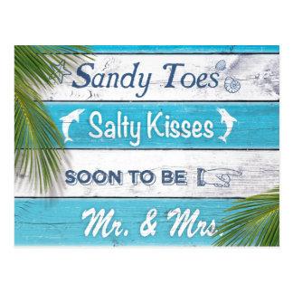 Les baisers salés d'orteils de Sandy de turquoise Carte Postale