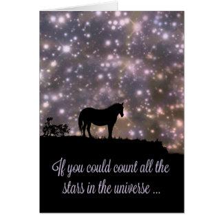 Les belles étoiles et le cheval pensant à vous carte