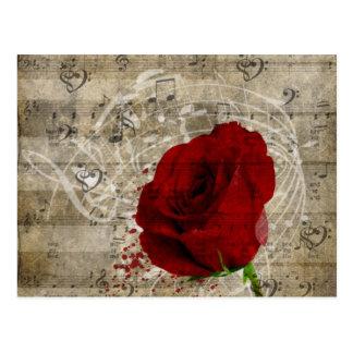 Les belles notes de musique de rose rouge cartes postales
