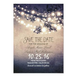 Les branches d'arbre et les lumières rustiques de carton d'invitation  11,43 cm x 15,87 cm