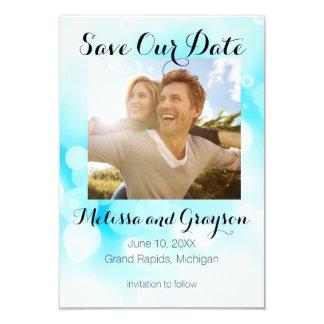 Les bulles bleues d'imaginaire - sauvez la carte carton d'invitation 8,89 cm x 12,70 cm
