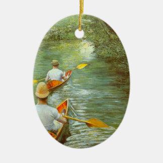Les canoës, Perissoires par Gustave Caillebotte Ornement Ovale En Céramique