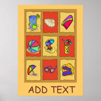 Les carrés de plage, ajoutent le texte