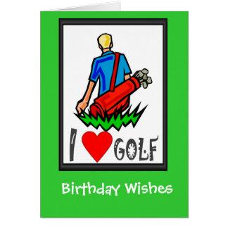 Les cartes d'anniversaire jouantes au golf, j'aime