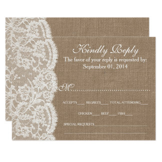 Les cartes de la collection RSVP de toile de jute Carton D'invitation 8,89 Cm X 12,70 Cm