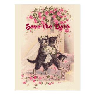 Les chats vintages de mariage sauvent la carte carte postale