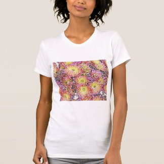 Les chrysanthèmes W/in raye le petit T-shirt de